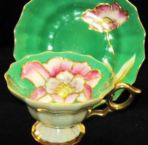 Japan Encrusted Flower Feet Tea Cup And Saucer Not My