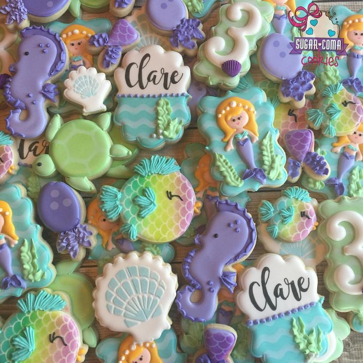 """897 Likes, 34 Comments - Mary Donley (@sugarcomacookies) on Instagram: """"Mermaid birthday party cookies! Mermaid themes are one of my FAVORITES!  #sweets #customsweets…"""""""