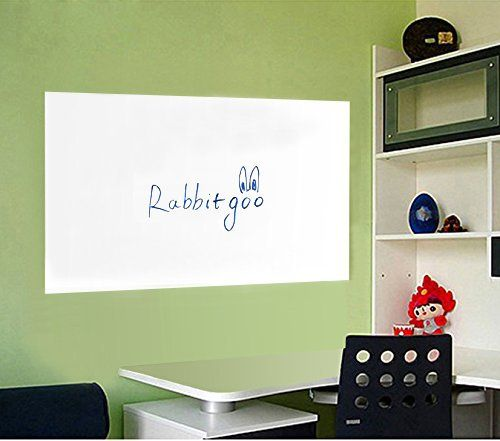 Rabbitgoo Self-Adhesive Wall Sticker Wall Paper Whiteboard Sticker Chalkboard Contact Paper (White) 17.7 by 78.7 Inches with 1 Free Marker Pen for School/ Office/ Home ?for Water-based Marker Pen?