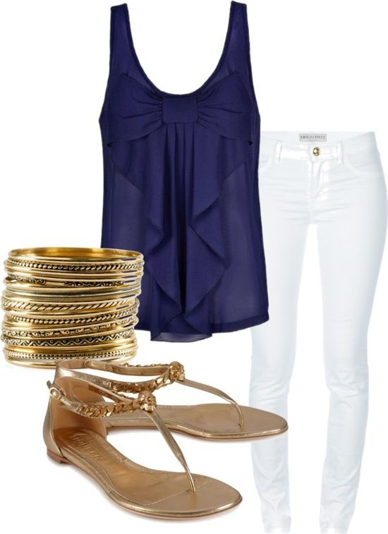 navy blue bow blouse, white pants & gold accessories