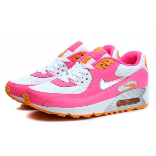 Cheap Nike Air Max 90 Pink Silver Orange Womens Trainers & Shoes UK Online