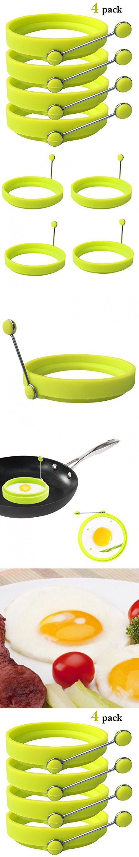 Ozera 4 Pack Nonstick Silicone Egg Ring Pancake Mold, Round Egg Rings Mold, Green
