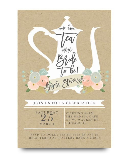 Beautiful Bridal Shower Tea Party Invitation, Brunch With Bride