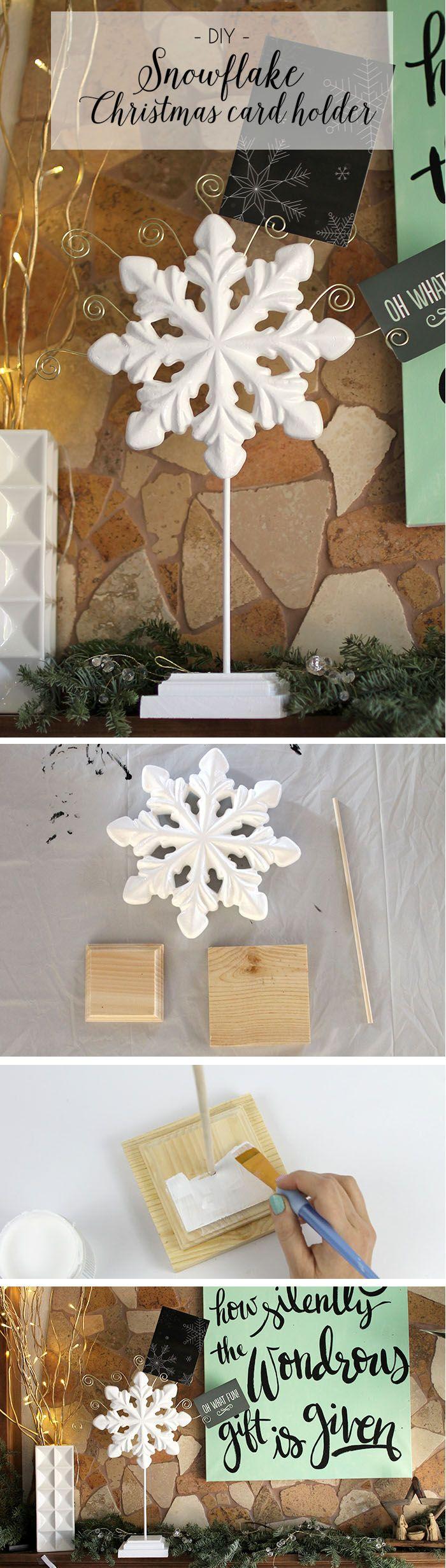 Diy retro christmas decorations - Diy Snowflake Christmas Card Holder