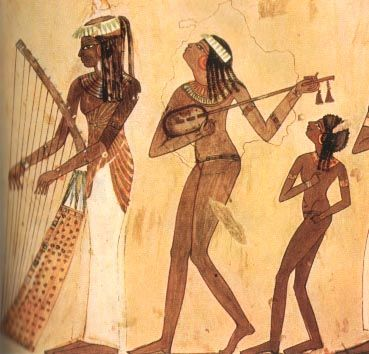 Musician women: a harpist, a luthist, and a younger dancer. 18th dynasty, ancient Egypt.