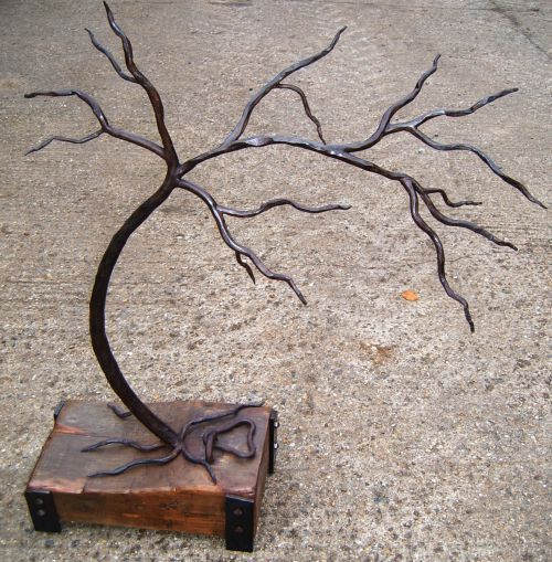 Iron with elm Recycled Materials/ Objets trouvees #sculpture by #sculptor Adrian Payne titled: 'The Last Tree. (Iron Metal Small Bonsai Sculptures /statues)' £1334 #art
