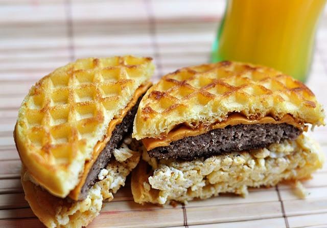 Waffle sausage, egg and cheese sandwich | Breakfast Stuff | Pinterest