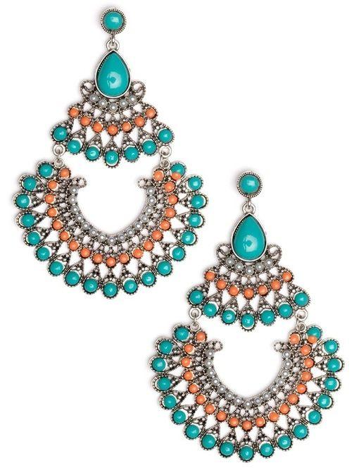 Blue orange and white beaded earrings