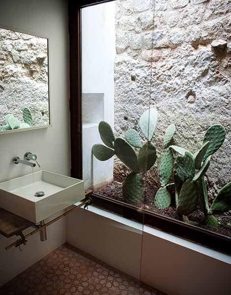 Modica (Ragusa). Bathroom design in sicilian house.