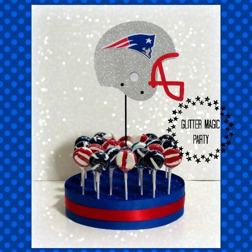 New England Patriots Stand - Lollipops or Cakepops Stand - Patriots Party Decoration - Patriots Inspired Party - NFL - Helmet