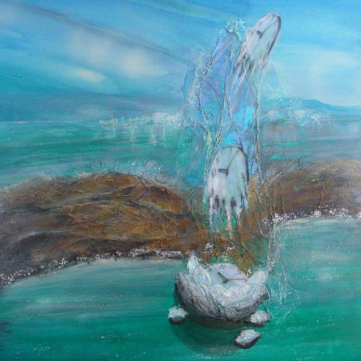 Time flies love endures, Tempus fugit amor manet, Mixed Media Painting by Sabina von Arx Switzerland