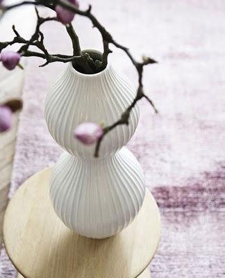 magnolia branch in textured white pot