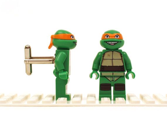 Teenage Mutant Ninja Turtles - Michelangelo cuff links. Cufflinks made with LEGO(R) bricks. Birthday gift, graduation... on Etsy, $63.44 CAD