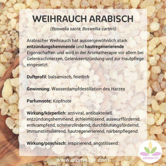 Arabischer Weihrauch hat aussergewöhnlich stark entzündungshemmende und hautregenerierende Eigenschaften und wird in der Aromatherapie vor allem bei Gelenkschmerzen, Gelenkentzündung und zur Hautpflege eingesetzt.