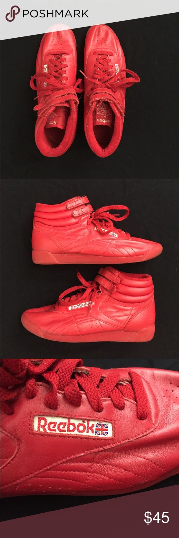 Reebok hightops Red leather women's Reebok Freestyle hightops. Womens size 9.5. Used but still in good condition. Still has alot of wear to them. Some scuffs. Slight leather cracking on inner side of both shoes (last pic). Reebok Shoes Athletic Shoes