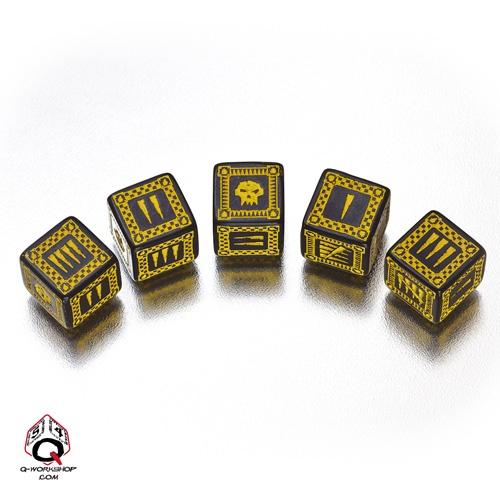 Black-yellow Orcish battle dice set