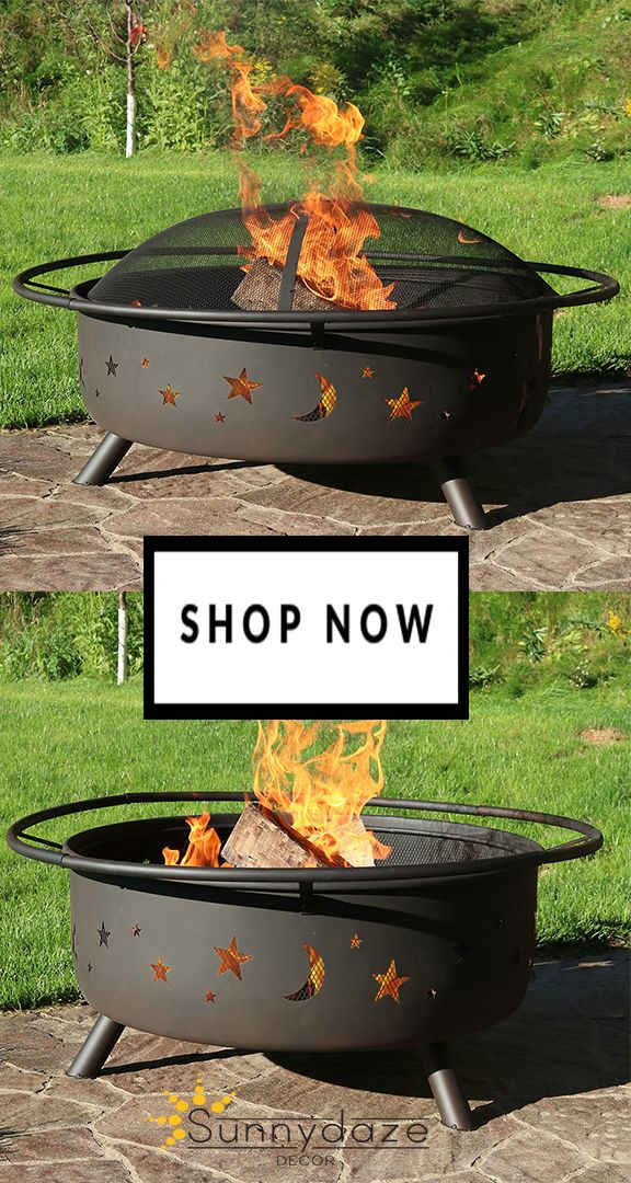 Have A Fun Cookout Or Just Enjoy An Evening Under The Stars With Large Cosmic Outdoor Fire Pit This 42 Inch Version Of Sunnydaze S Por Wood Burning