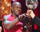 'Amazing!' he managed to shout as host Tom Bergeron awarded him the coveted mirror ball trophy, and gold confetti rained down on the ecstatic couple. This is the first mirror ball trophy for Murgatroyd, who was the first pro dancer ousted last season with partner Metta World Peace.
