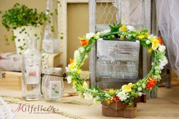 ミルフェリーチェ 花冠 黄色の花冠 オレンジの花冠 ナチュラル花冠