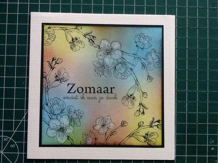 Stempel tekst van different colors, bloem takje van Scrapbook atelier.