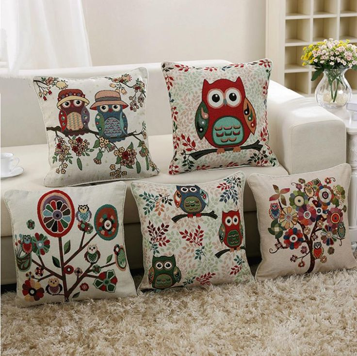 owl linen cotton throw pillow case home sofa bed car decor - Home Decor Cushions