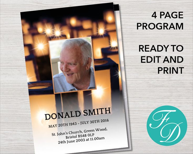Funeral Program Template, Order Of Service, Memorial Program, Memorial  Service (Lanterns)  Funeral Poster Templates