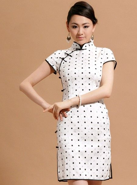 Dots Short Cheongsam / Qipao / Chinese Dress