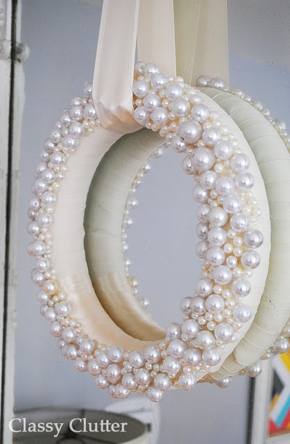 "DIY Wintery Pearl Wreath I think I will do this with ""JOY"" for Christmas time!"