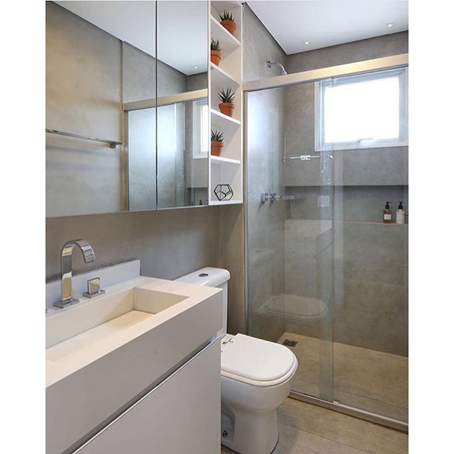 #mulpix Banheiro l Porcelanato imitando cimento queimado e cuba esculpida em…