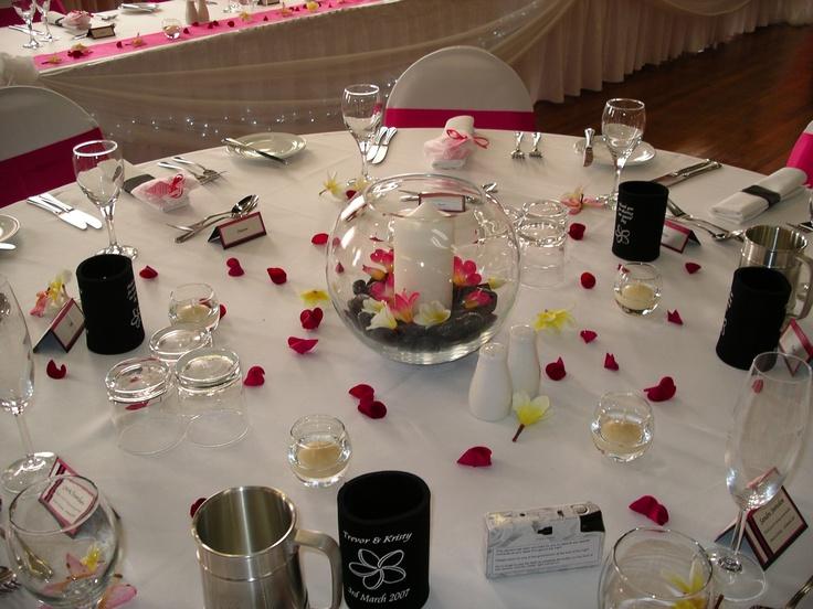 #weddingcentrepiece #frangipani #fishbowl