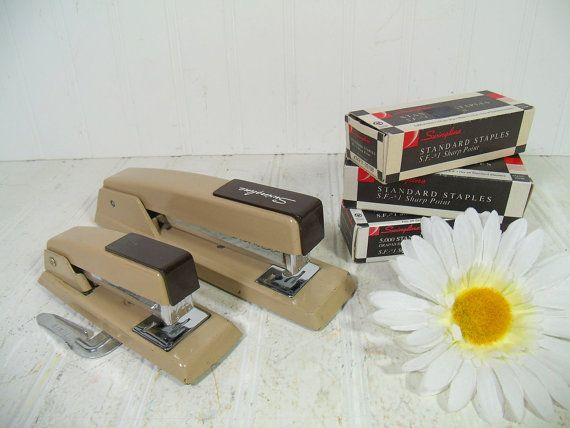 Vintage Swingline Staplers Collection - Retro Set of 2 Staplers and 3 Boxes of Swingline Staples - Industrial Brown Office Supplies Grouping by DivineOrders