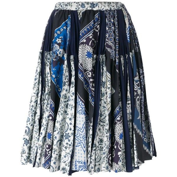 Wunderkind Scarf Print Skirt ($569) ❤ liked on Polyvore featuring skirts, blue and white skirt, cotton knee length skirt and cotton skirts