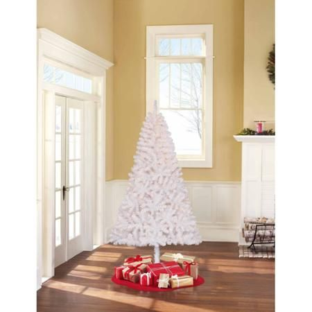 Holiday Time Pre-Lit 6.5' Madison Pine White Artificial Christmas Tree, Clear Lights - Walmart.com