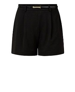 Tall Black Belted Shorts  | New Look  Classic black shorts, in a tall fit, so I don't have to worry about showing my butt cheeks!