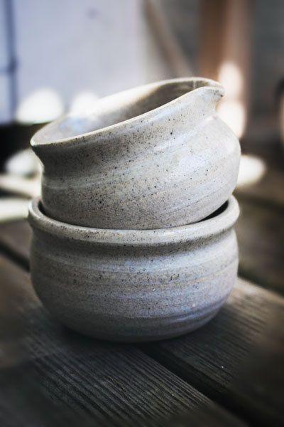 Two small vintage Japanese Scandinavian Hand Made ceramic Gravy boat/ dish set design Eco minimalism