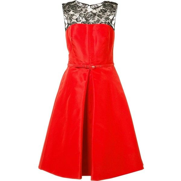 Oscar de la Renta inverted pleat flare dress (436.180 RUB) ❤ liked on Polyvore featuring dresses, red, red flare dress, oscar de la renta, inverted pleat dress, silk dress and red flared dress