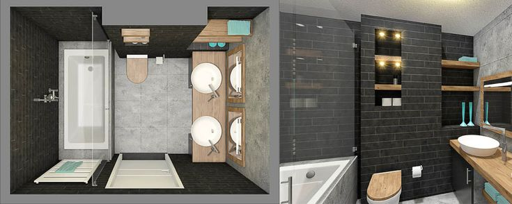 bovenaanzicht 3D plattegrond hout antraciet grijs badkamer