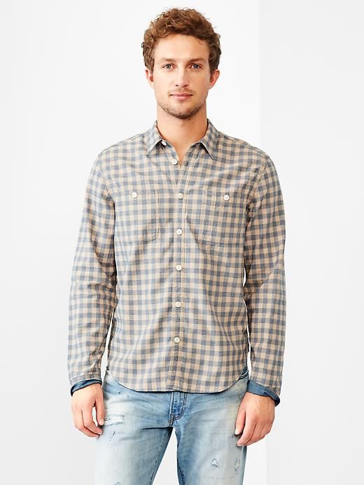 1969 worker indigo gingham shirt