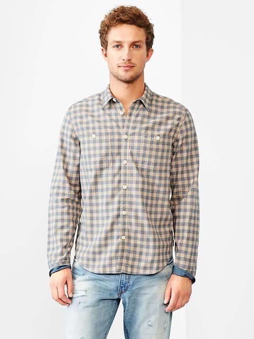 1969 worker indigo gingham shirt