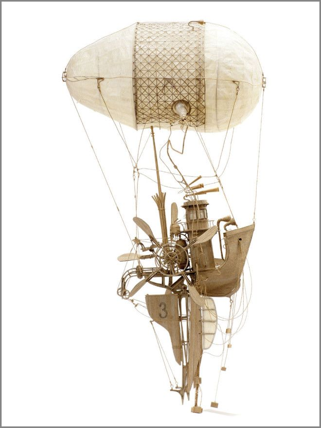 """The Captain"" is a whimsical flying machine crafted from three gauges of cardboard. Daniel Agdag"