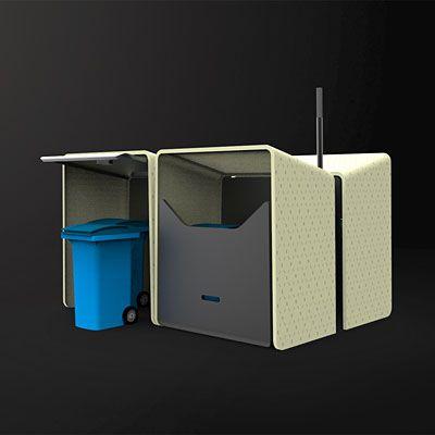 Abri cache conteneurs design en acier, Abri conteneurs en acier aux lignes contemporaines
