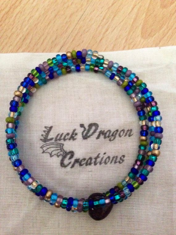 Bohemian Blue Pink and Green Memory Wire by LuckDragonCreations