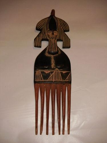 ENORMOUS DECORATIVE HAIR PICK 7 TINE AFRICAN FEMALE FOLK ART HAND CRAFT IN GHANA | eBay