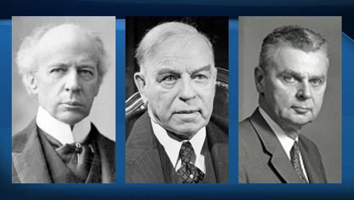 Sir Wilfrid Laurier (left), William Lyon Mackenzie King (centre) and John Diefenbaker (right).