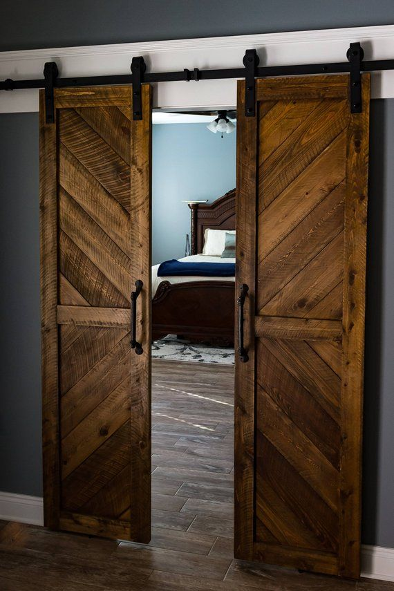 Solid Cypress Chevron Sliding Barn Door Pairs Shipping Included In 2020 Wood Doors Interior Barn Doors Sliding Sliding Barn Door Hardware