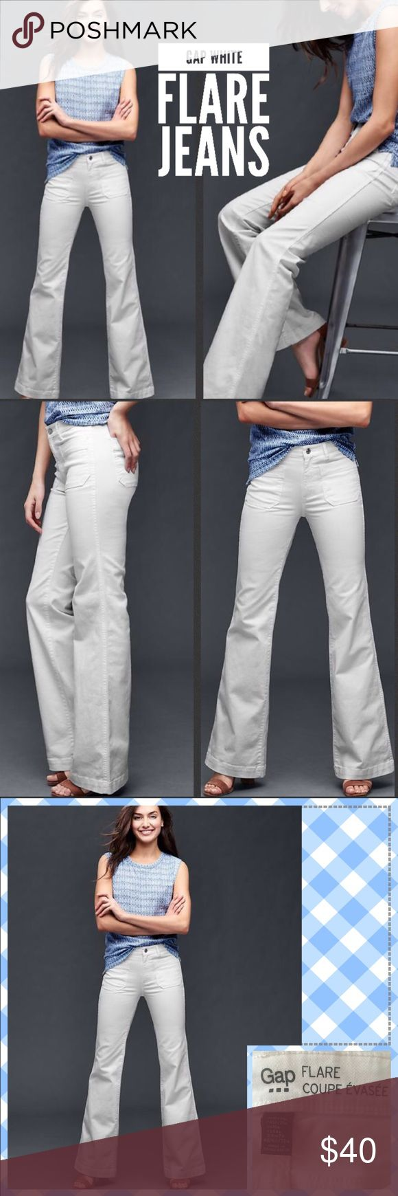 "Gap Flare Jeans 👖 Gap Women's White Authentic 1969 Patch Pocket Flare Jeans  ❤️ Fit: Slim through the hip. Cut: Mid rise. Leg opening: Flare that starts over the knee. Inseam: regular US 34""/86 cm SIZE  12/31""r  Model is 5'9.5""/177 cm, waist 24""/61 cm, hips 35""/89 cm, wearing a regular Gap size 4 ❤️98% Cotton, 2% Spandex. Machine wash. ❤️ Classic, with a sexy twist. Premium, vintage-inspired denim with just a bit of stretch. ❤️ Solid white wash. Button closure, zip fly. Patch pockets…"