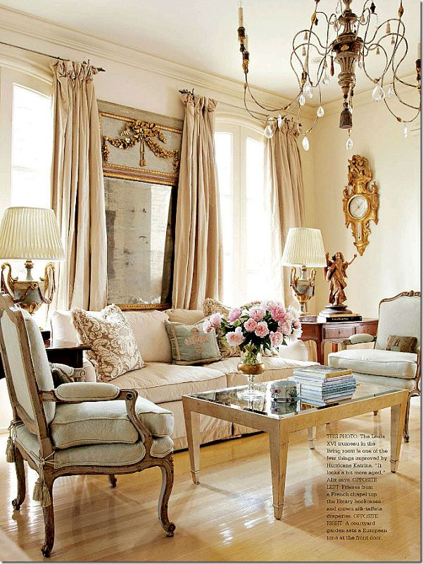 Classic French interior. Antique French Trumeau, rock crystal chandelier, creamy silk fabrics~