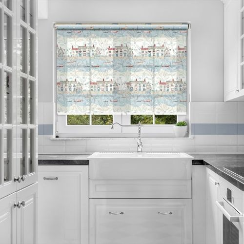 Printed roller blind with images of a fishing village in shades of blue perfect for a kid's room or to add a playful nautical look to your home