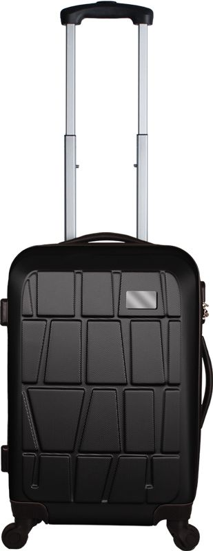 """Bullet Suitcase  Textured ABS mould design, 4 Wheel Spinner, Fully Recessed Aluminum Pullout Handle, 2 Carry Handles, Lock System, Mesh & Shoe Pocket Inside, Clothing travel straps, Metal Plate to decorate 2.25"""" W x 1.285"""" H, Size: 21"""" x 14"""" x 9"""", Color: Black, Silver"""