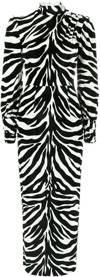 Alessandra Rich high neck velvet zebra print dress
